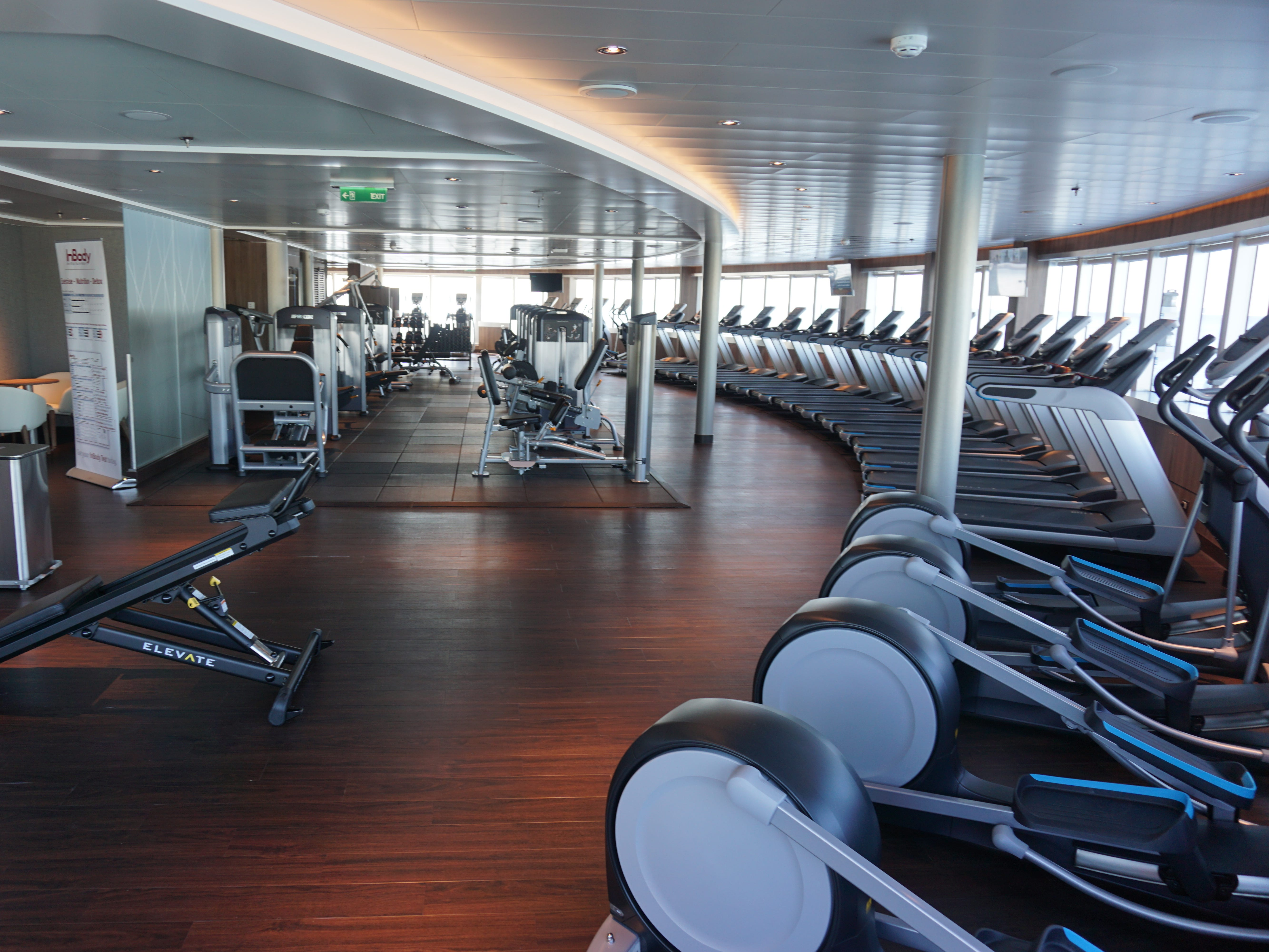 The gym has a wide selection of cardio machines, weight machines and free weights.