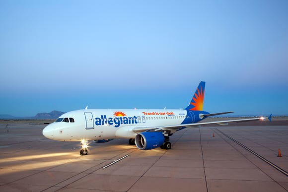 This file photo shows an Allegiant Airbus aircraft.