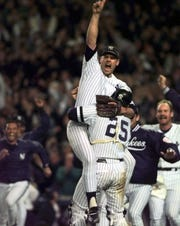 John Wetteland celebrates after the Yankees won the 1996 World Series title.