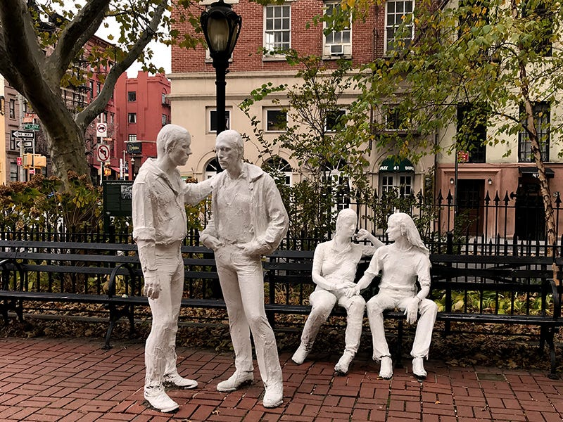 Gay Liberation Monument, New York City: Tucked away in Greenwich Village, stark white sculptures of two same-sex couples in casual conversation stand (and sit) in Christopher Park. They commemorate the riots at the neighboring Stonewall Inn, which are widely recognized as the beginning of the modern gay rights movement.