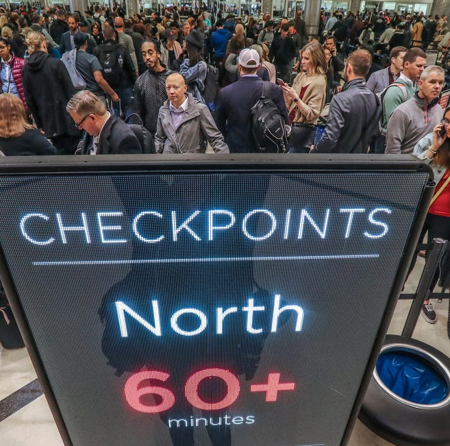 Security lines at Hartsfield-Jackson International Airport in Atlanta stretch more than an hour long amid the partial federal shutdown, causing some travelers to miss flights, Monday morning, Jan. 14, 2019. The long lines signaledstaffing shortagesat security checkpoints, as TSA officers have been working without pay since the federal shutdown began Dec. 22.