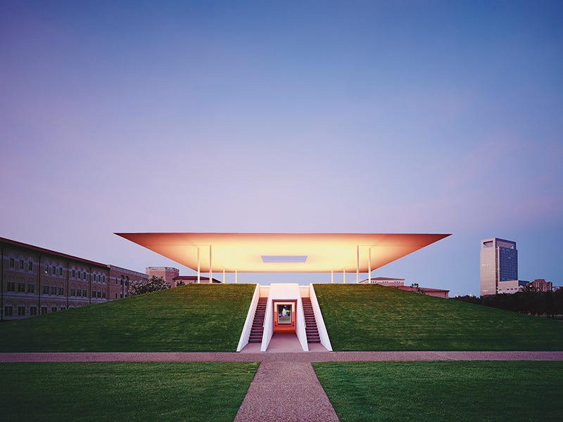 James Turrell's Twilight Epiphany Skyspace, Houston: The 73rd Skyspace by artist James Turrell, built in 2012, appears to float above a grassy pyramid on Rice University's campus. At sunrise and sunset, visitors are treated to a 40-minute light show projected onto the ceiling of the concrete-and-stone pavilion.