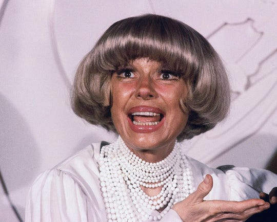 This Feb. 24, 1982 file photo shows actress Carol Channing at the Grammy Awards  in Los Angeles. Channing, whose career spanned decades on Broadway and on television has died at age 97. Publicist B. Harlan Boll says Channing died of natural causes early Tuesday, Jan. 15, 2019 in Rancho Mirage, Calif.
