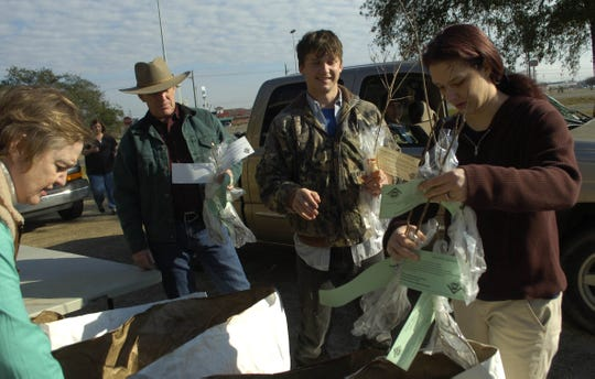 Volunteers assist the Louisiana Forestry Association during a former annual tree giveaway held on a previous Arbor Day.