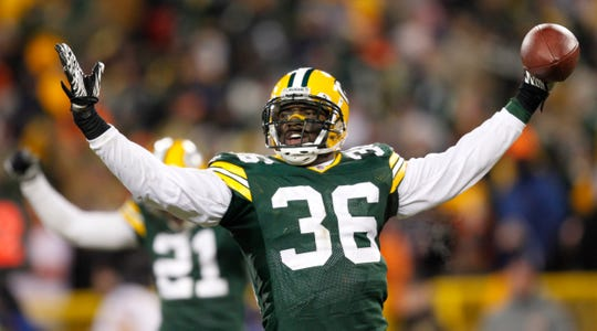 Nick Collins celebrates his interception against the Chicago Bears on Jan. 2, 2011, that clinched a playoff spot for the Packers.