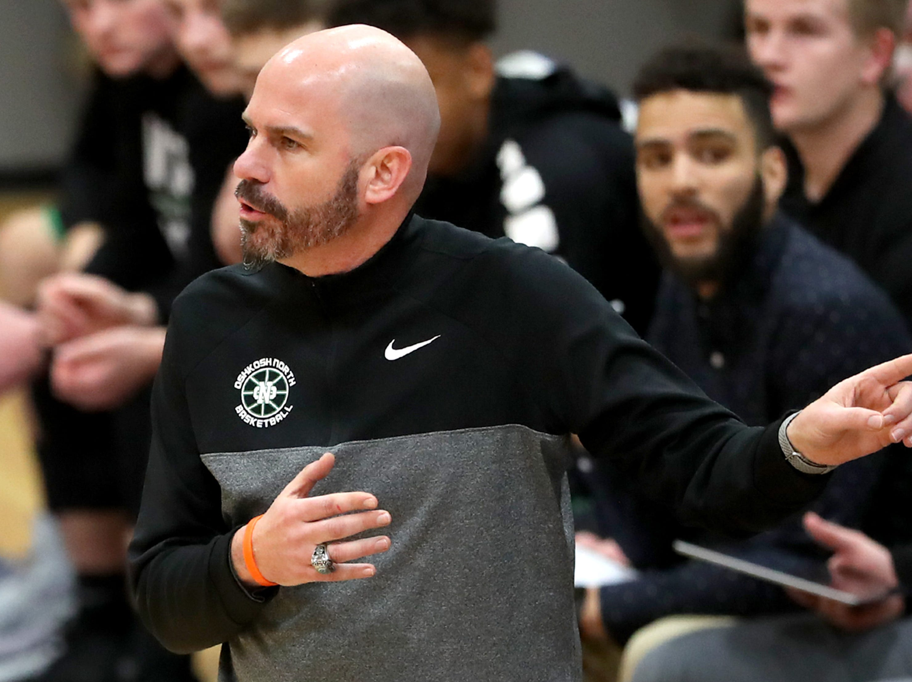 Oshkosh North High School's head coach Brad Weber speaks to an official during their game against Appleton West High School Tuesday, Jan. 15, 2019, at Appleton West High School in Appleton, Wis. Appleton West High School defeated Oshkosh North High School 72-63.Danny Damiani/USA TODAY NETWORK-Wisconsin