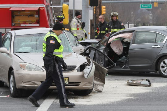 The scene of a multi-car collision on Route 9 at East Freehold Road in Freehold Township Wednesday, January 16, 2019.
