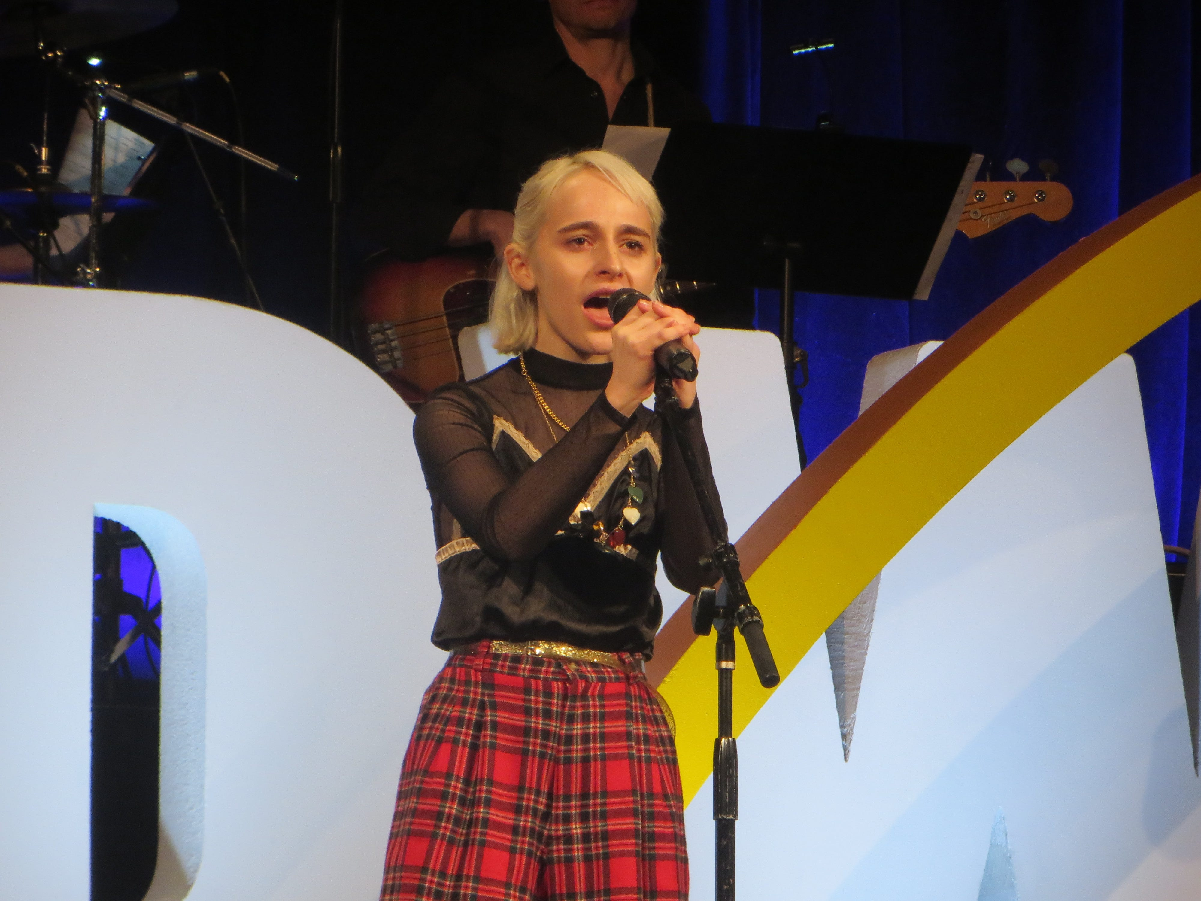 "Sophia Anne Caruso sings ""Dead Mom"" from ""Beetlejuice"" during the First look at BroadwayCon 2019, held Jan. 11 to 13, 2019, at the New York Hilton Midtown in Manhattan."