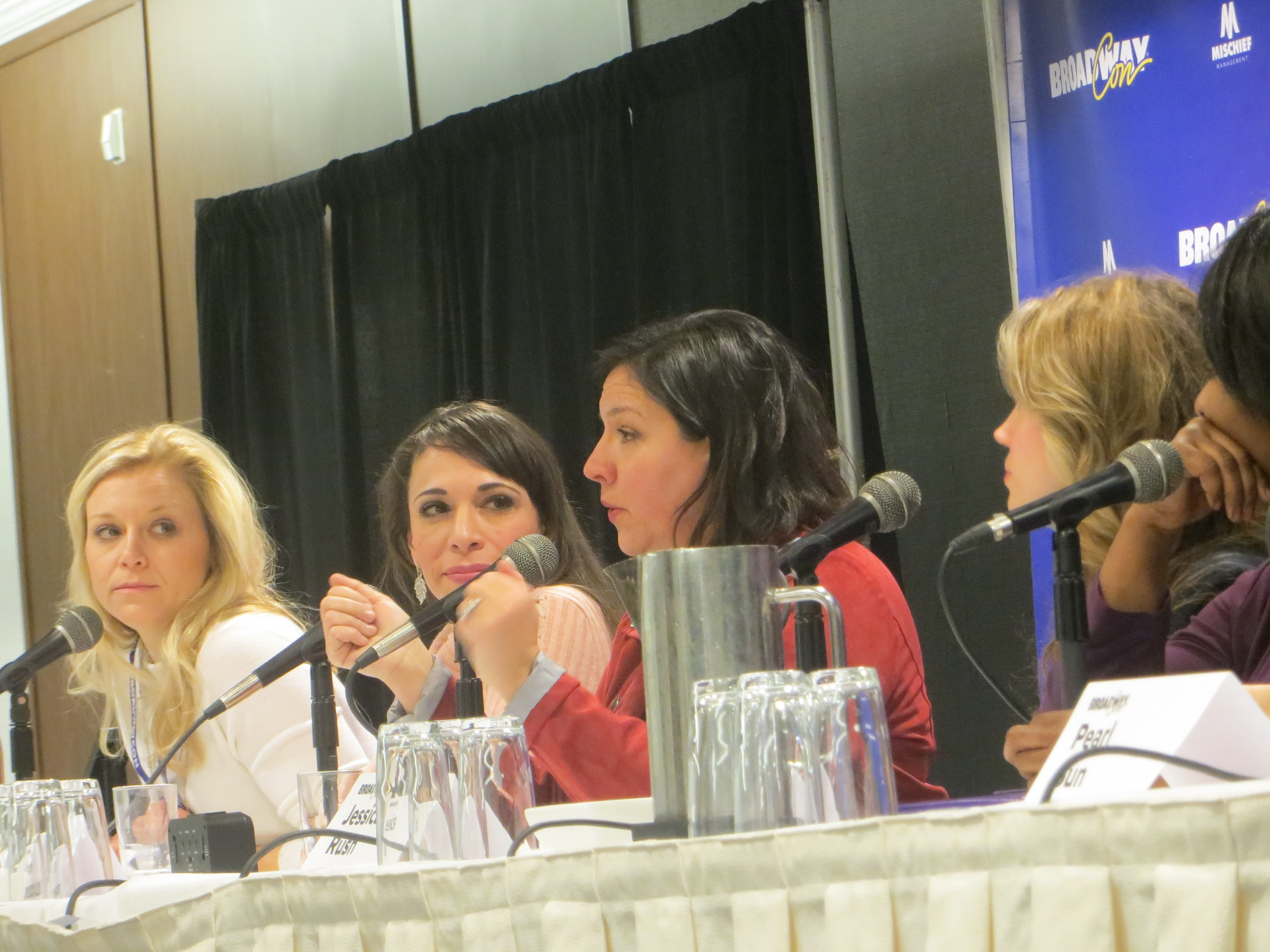Cara Cooper, Ellyn Marie Marsh, Kristen Anderson-Lopez, Jessica Rush and NaTasha Yvette Williams during From Broadway to Babies and Back Again panel at BroadwayCon 2019, held Jan. 11 to 13, 2019, at the New York Hilton Midtown in Manhattan.