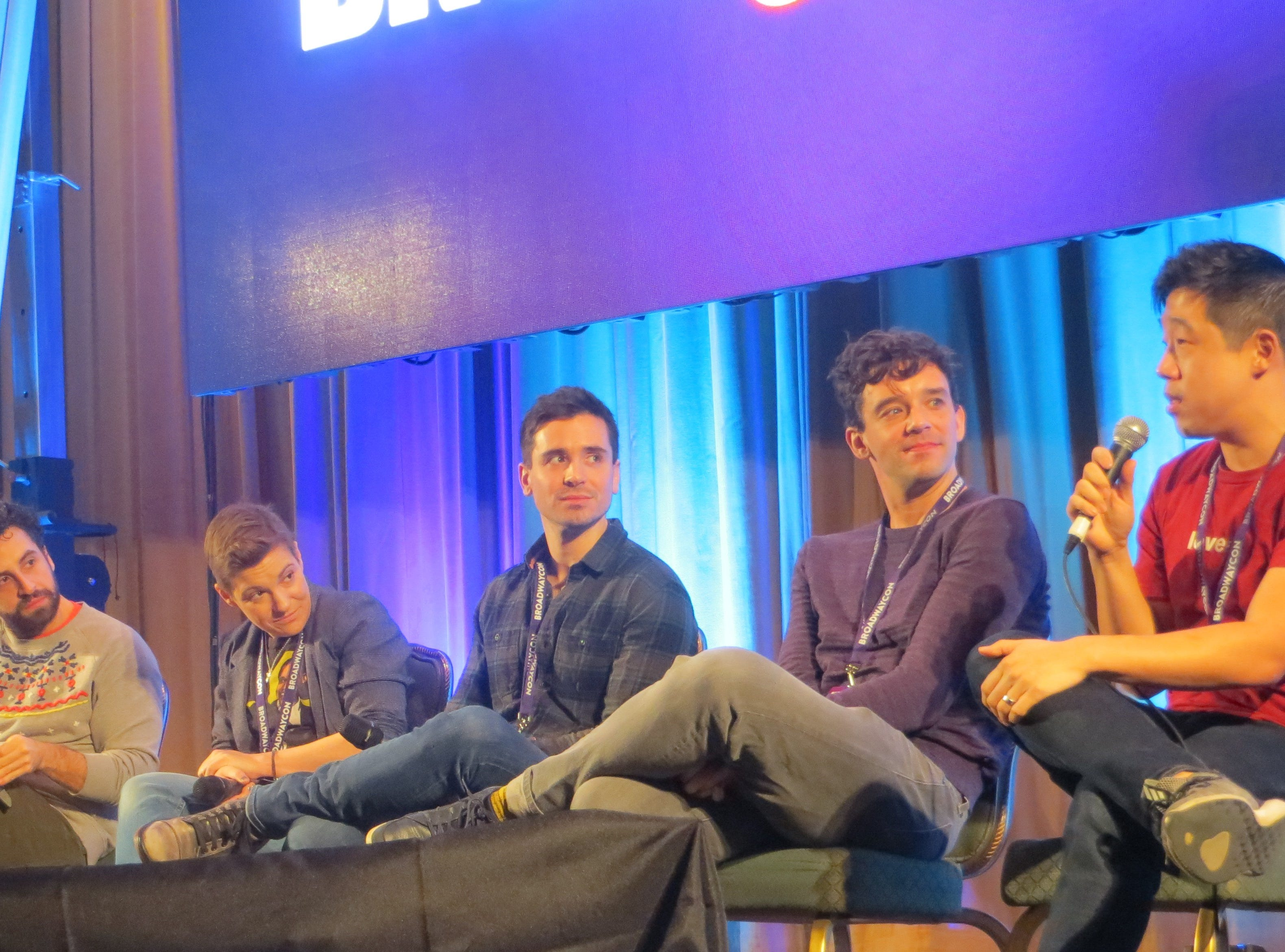 John Riddle, Brandon Uranowitz, Daisy Eagan, Matt Doyle, Michael Urie and Raymond Lee during the Out on Broadway panel at BroadwayCon 2019, held Jan. 11 to 13, 2019, at the New York Hilton Midtown in Manhattan.
