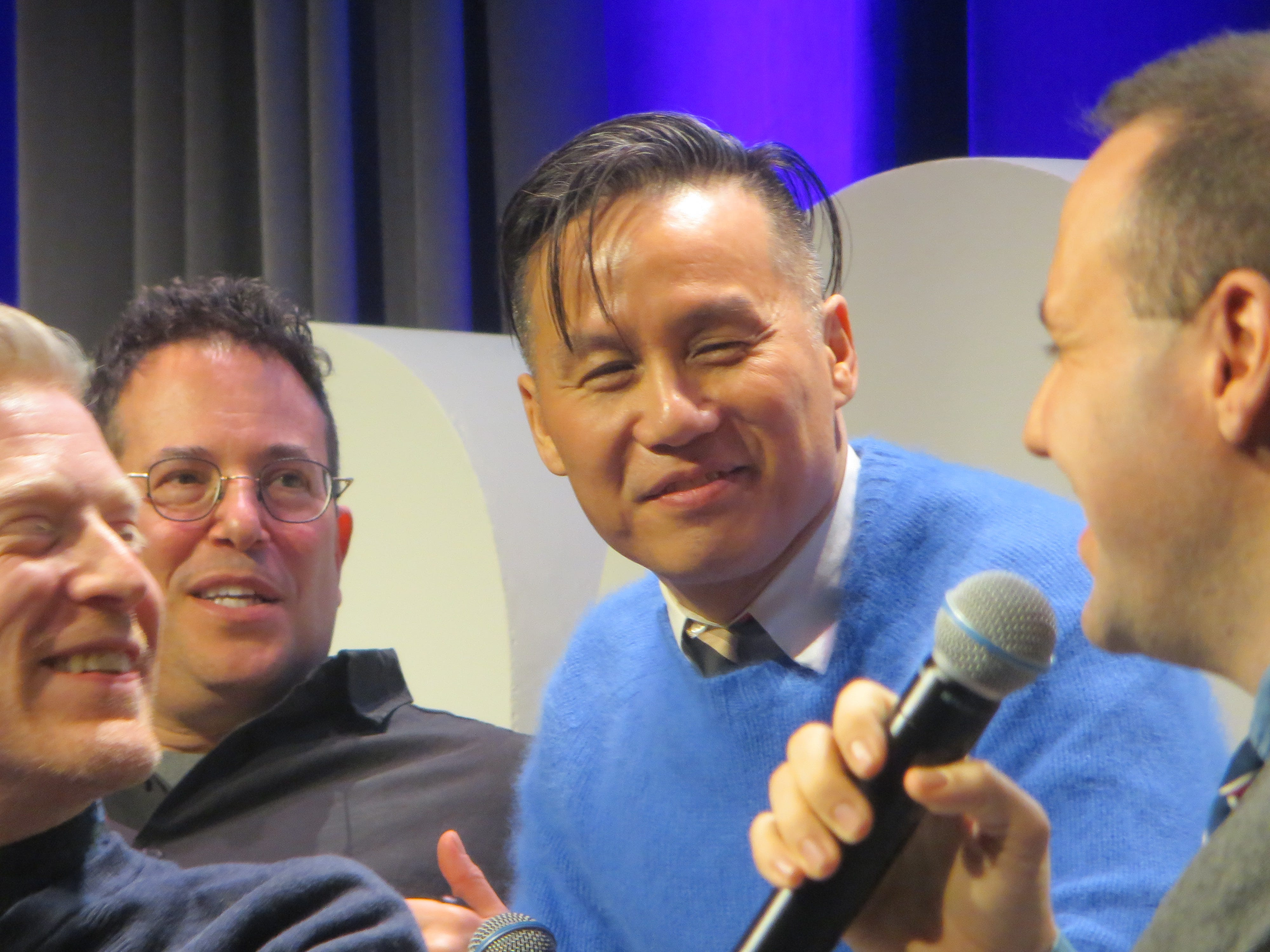 "B.D. Wong listens during the ""You're A Good Man, Charlie Brown"" reunion at BroadwayCon 2019, held Jan. 11 to 13, 2019, at the New York Hilton Midtown in Manhattan."