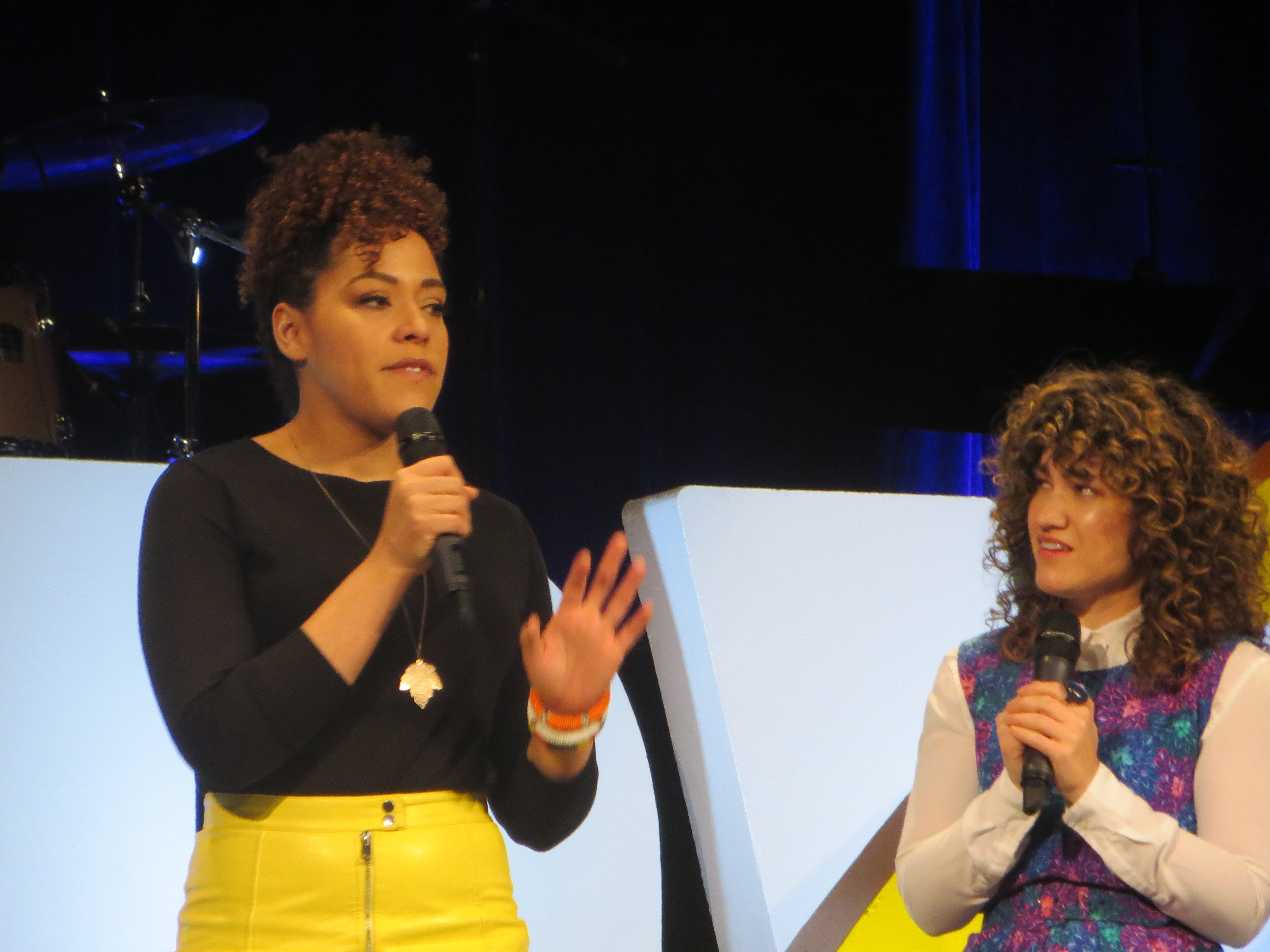 "Lilli Cooper and Sarah Stiles offer a peek at the upcoming ""Tootsie"" during the First Look at BroadwayCon 2019, held Jan. 11 to 13, 2019, at the New York Hilton Midtown in Manhattan."