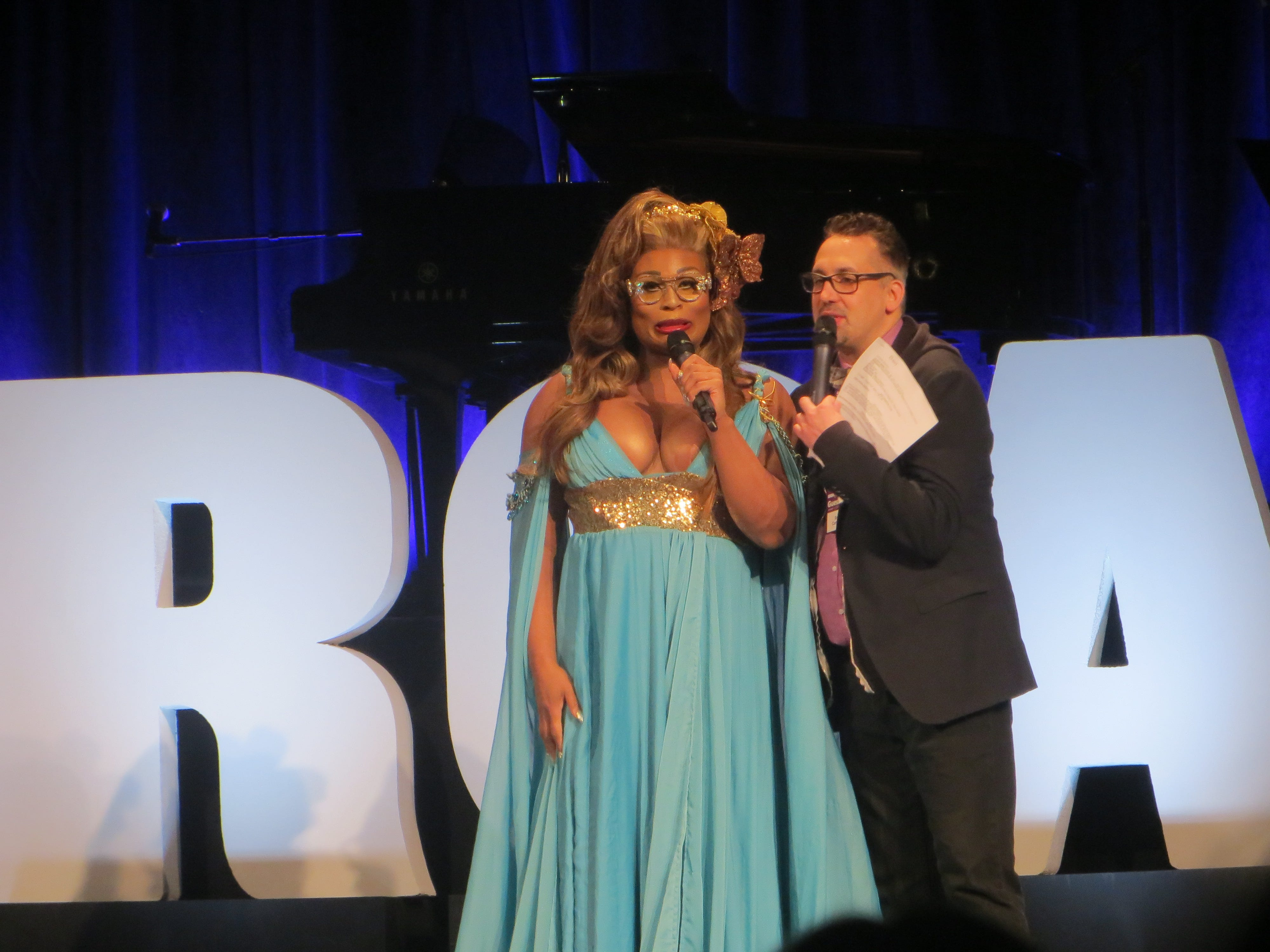 Peppermint and Ben Cameron introduce the Lip Sync Battle at BroadwayCon 2019, held Jan. 11 to 13, 2019, at the New York Hilton Midtown in Manhattan.