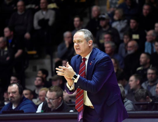 Jan 15, 2019; West Lafayette, IN, USA; Rutgers Scarlet Knights head coach Steve Pikiell in the first half  at Mackey Arena.