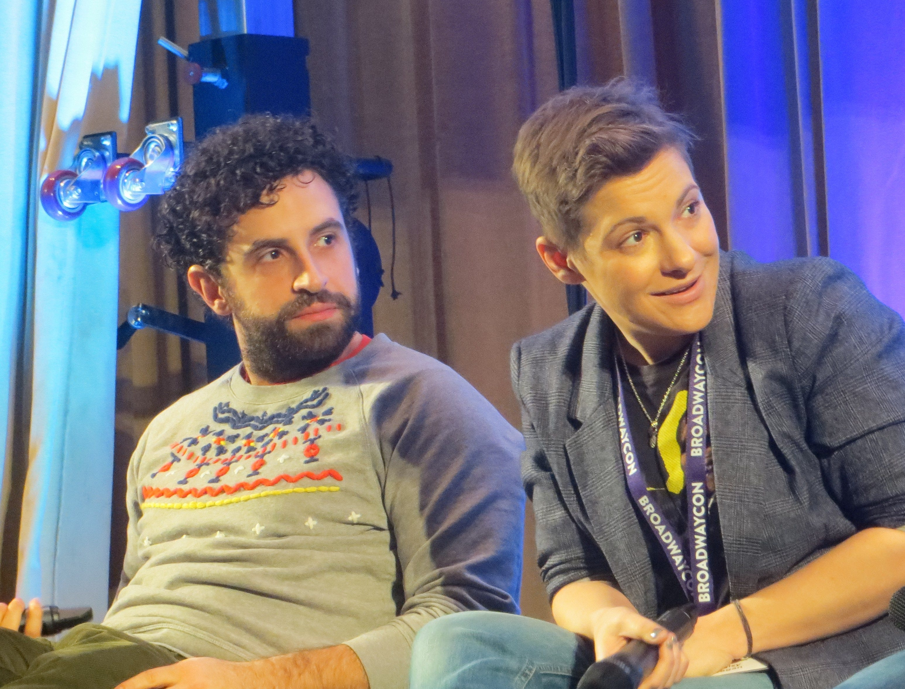 Brandon Uranowitz and Daisy Eagan take part in the Out on Broadway panel                             at BroadwayCon 2019, held Jan. 11 to 13, 2019, at the New York Hilton Midtown in Manhattan.