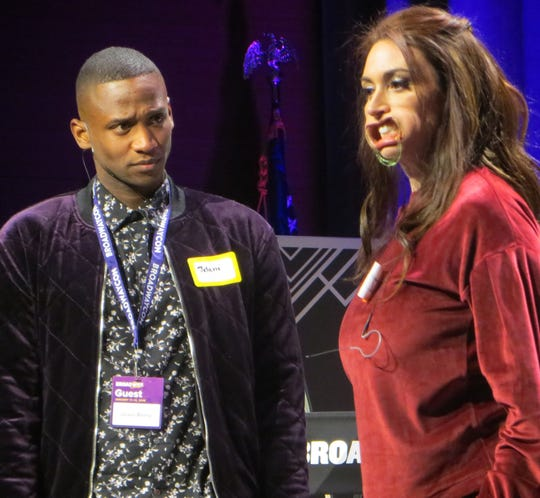 Jelani Remy and Lesli Margherita take part in Game Night at BroadwayCon 2019, held Jan. 11 to 13, 2019, at the New York Hilton Midtown in Manhattan.