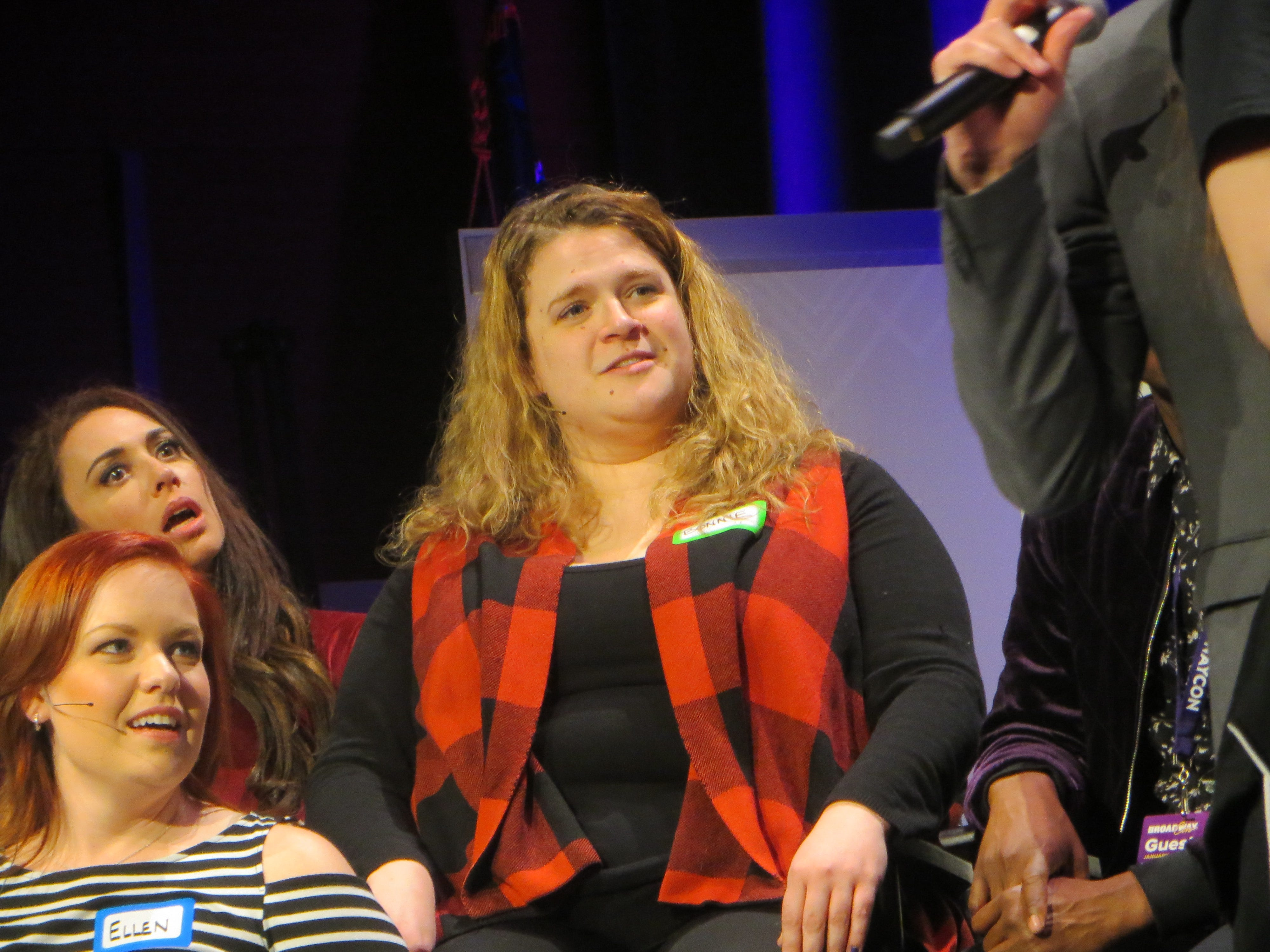 Bonnie Milligan takes part in Game Night at BroadwayCon 2019, held Jan. 11 to 13, 2019, at the New York Hilton Midtown in Manhattan.