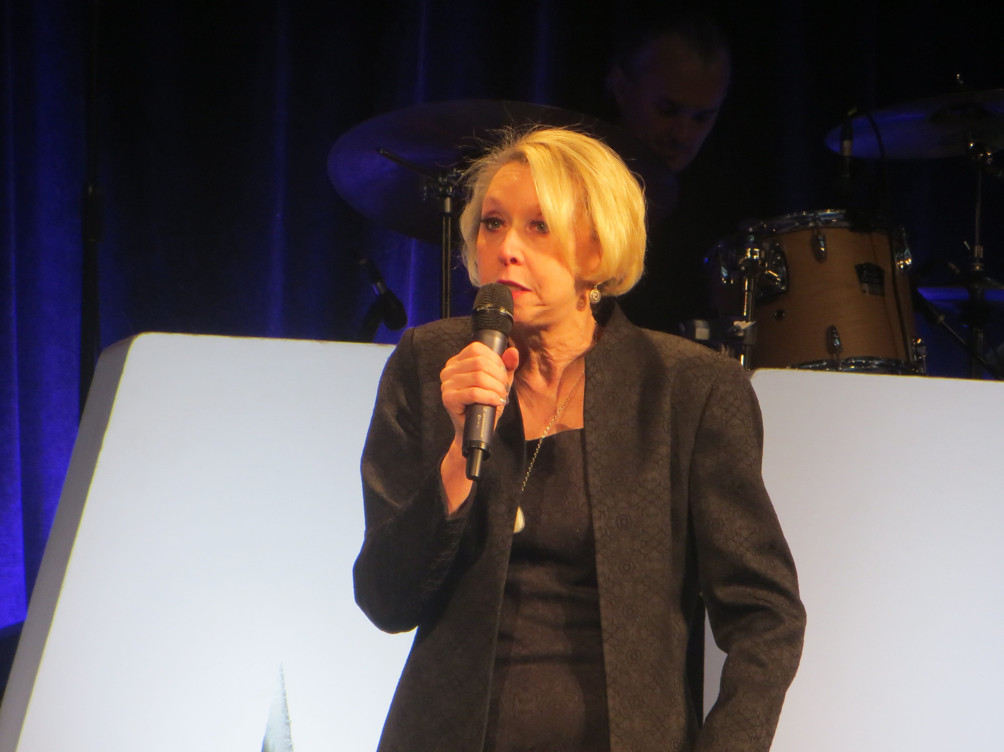 Julie Halston introduces First Look at BroadwayCon 2019, held Jan. 11 to 13, 2019, at the New York Hilton Midtown in Manhattan.