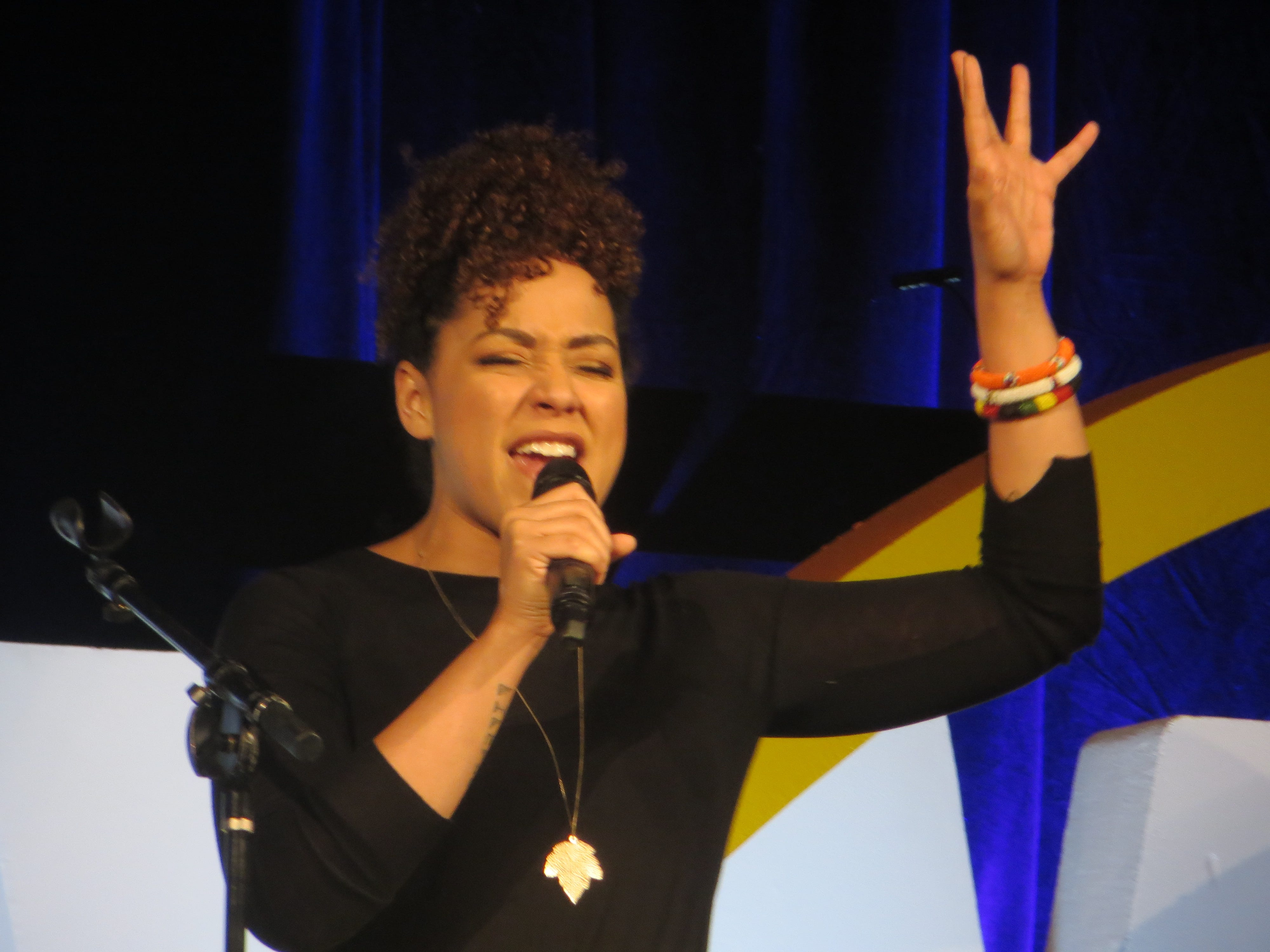 "Lilli Cooper sings a song from the upcoming ""Tootsie"" during the First Look at BroadwayCon 2019, held Jan. 11 to 13, 2019, at the New York Hilton Midtown in Manhattan."