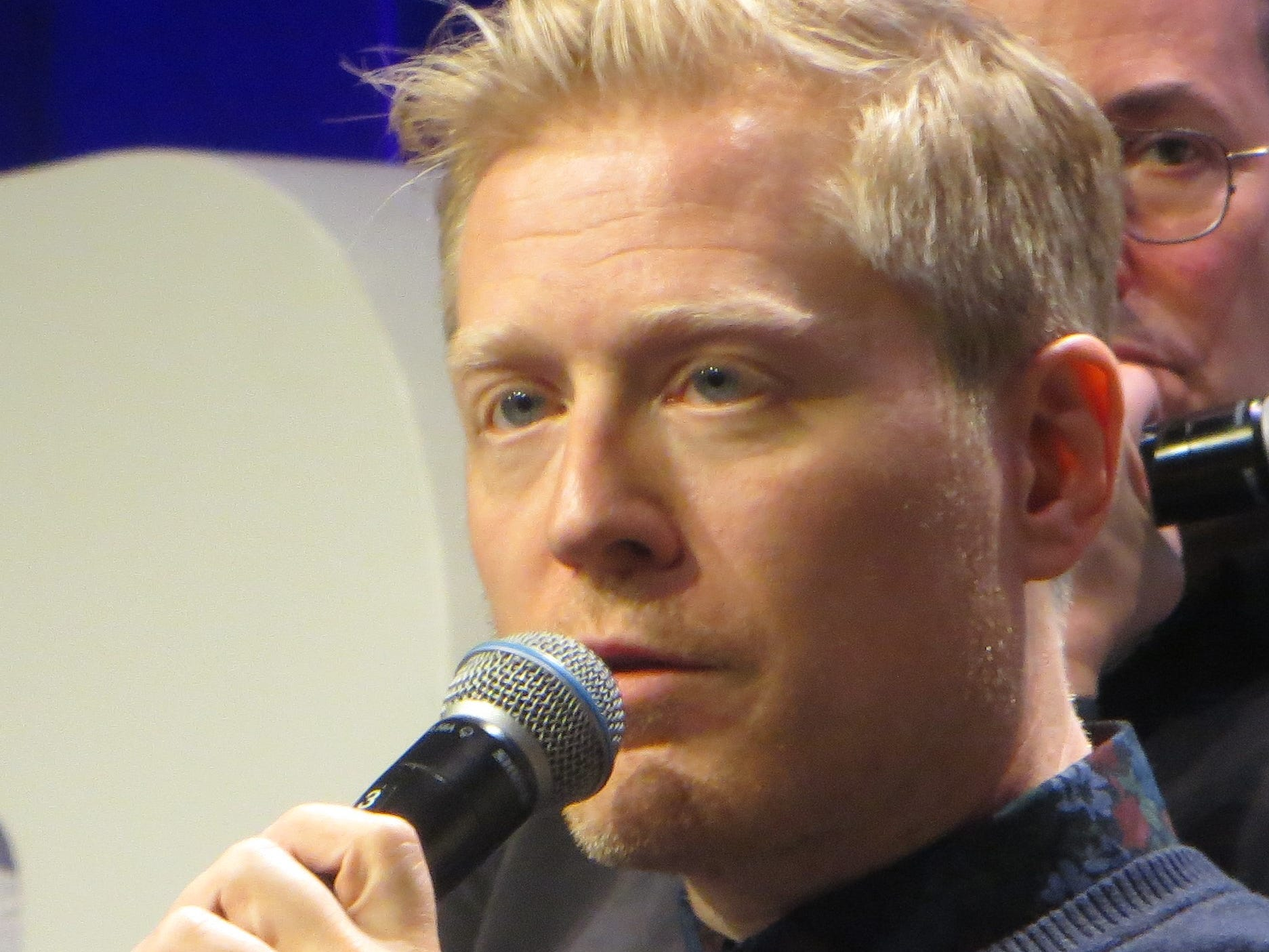 "Anthony Rapp speaks during the ""You're A Good Man, Charlie Brown"" reunion at BroadwayCon 2019, held Jan. 11 to 13, 2019, at the New York Hilton Midtown in Manhattan."