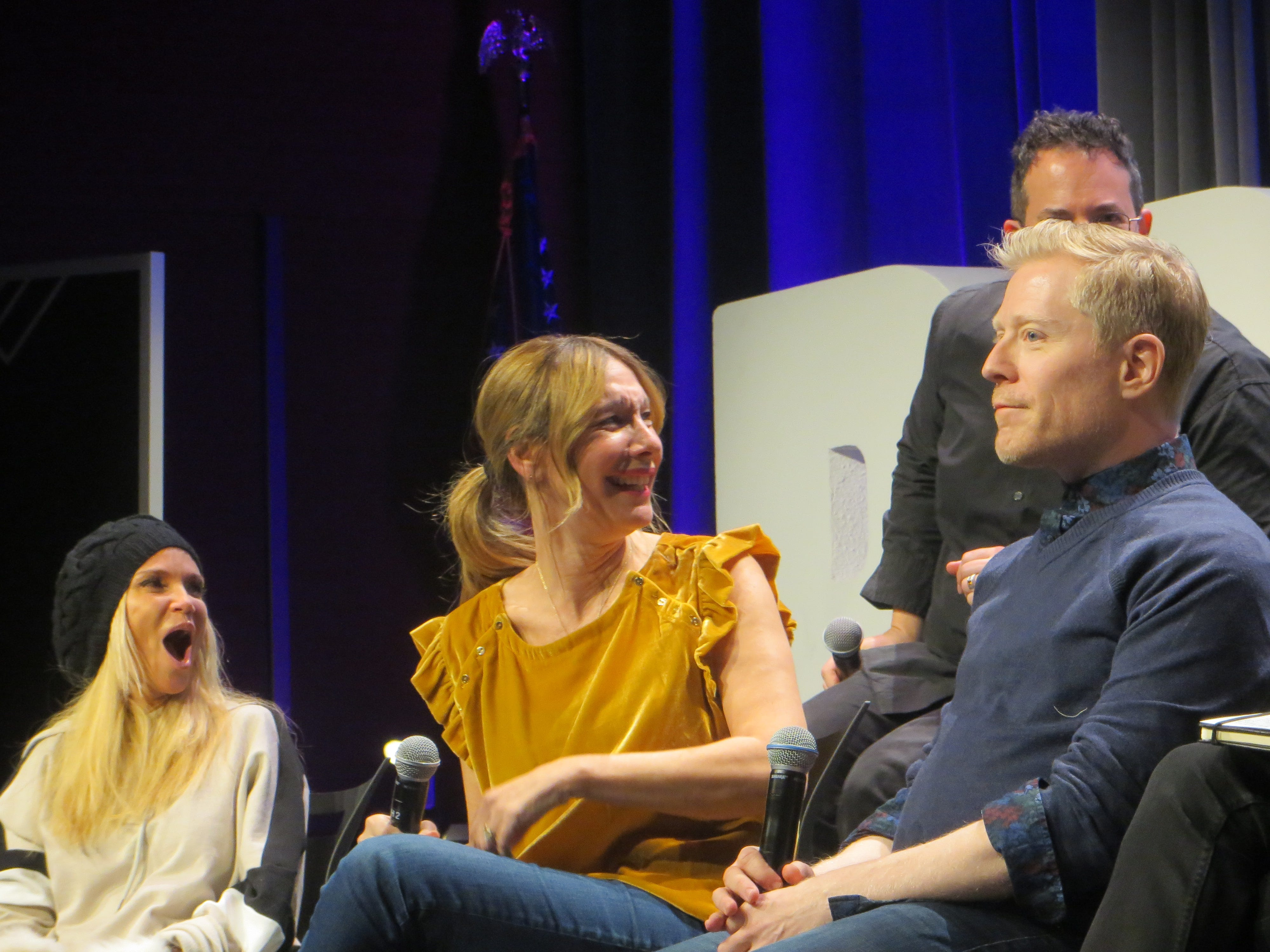 "Kristin Chenoweth, Ilana Levine and Anthony Rapp take part in the ""You're A Good Man, Charlie Brown"" reunion panel at BroadwayCon 2019, held Jan. 11 to 13, 2019, at the New York Hilton Midtown in Manhattan."