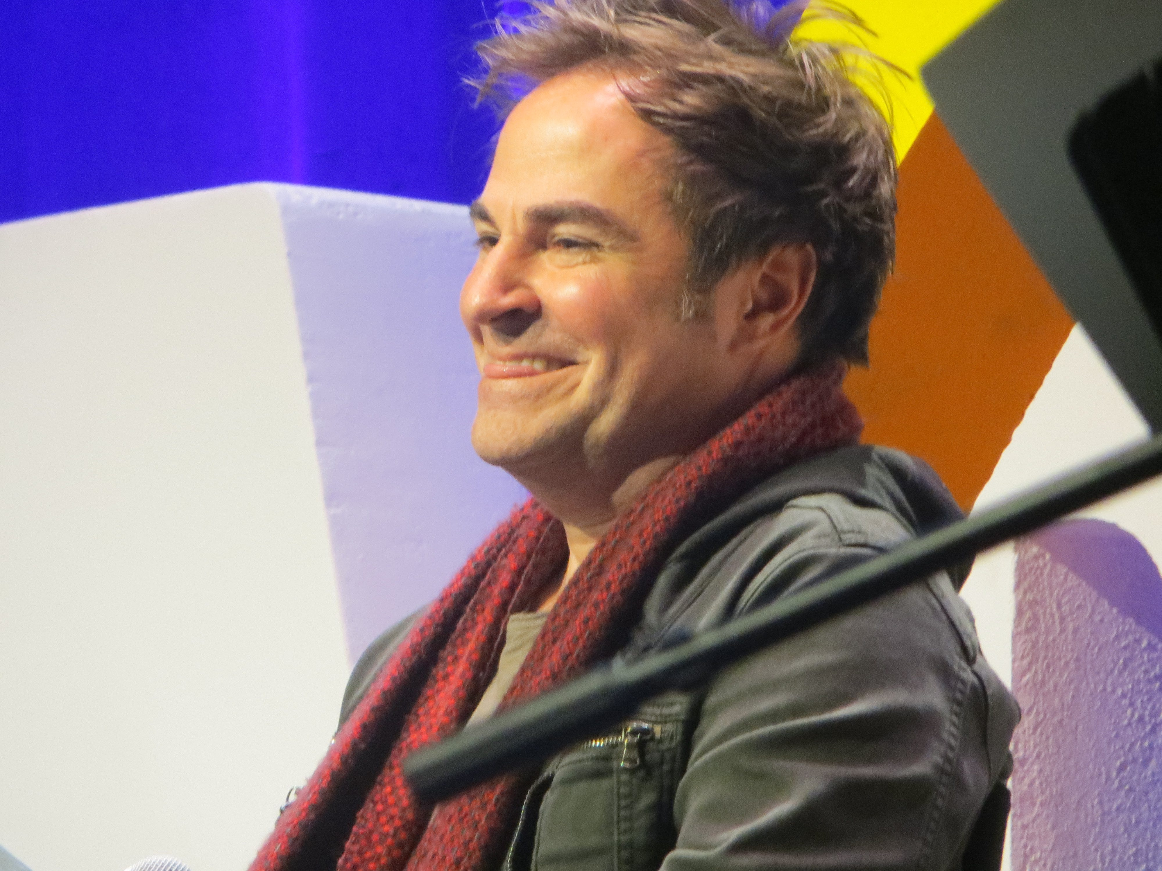 Roger Bart takes part in the Out on Broadway panel at BroadwayCon 2019, held Jan. 11 to 13, 2019, at the New York Hilton Midtown in Manhattan.