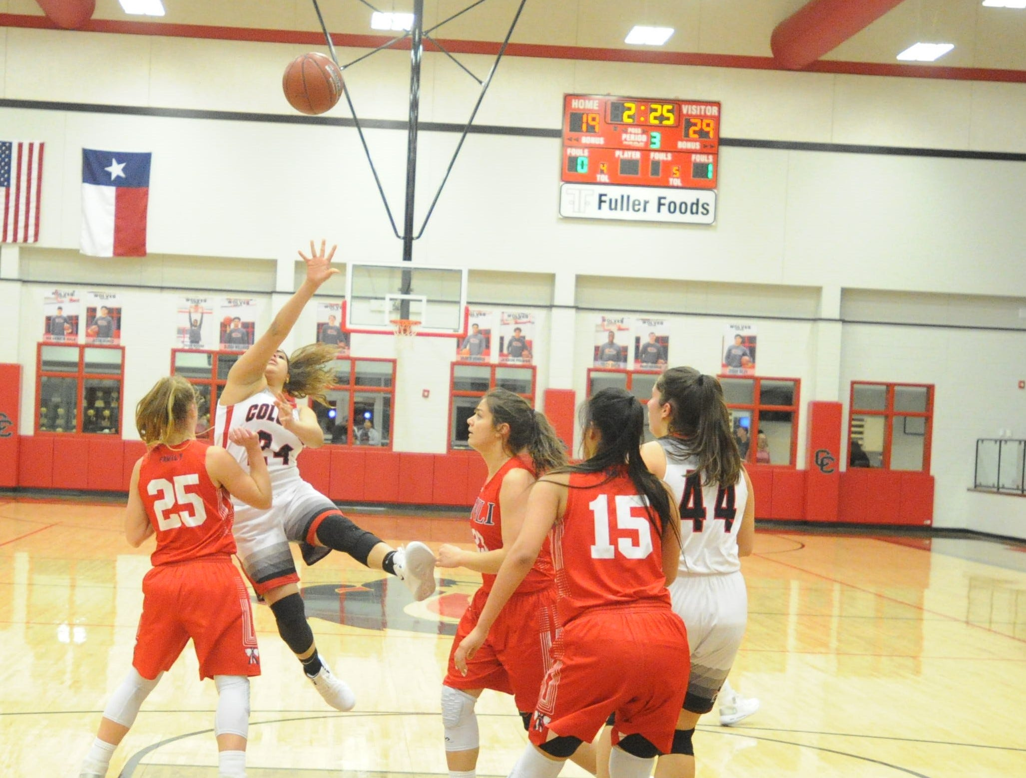 Colorado City's Alina Hernandez throws up a shot against Jim Ned. The Lady Indians topped the Lady Wolves 43-27 at Colorado High School on Jan. 15, 2019.