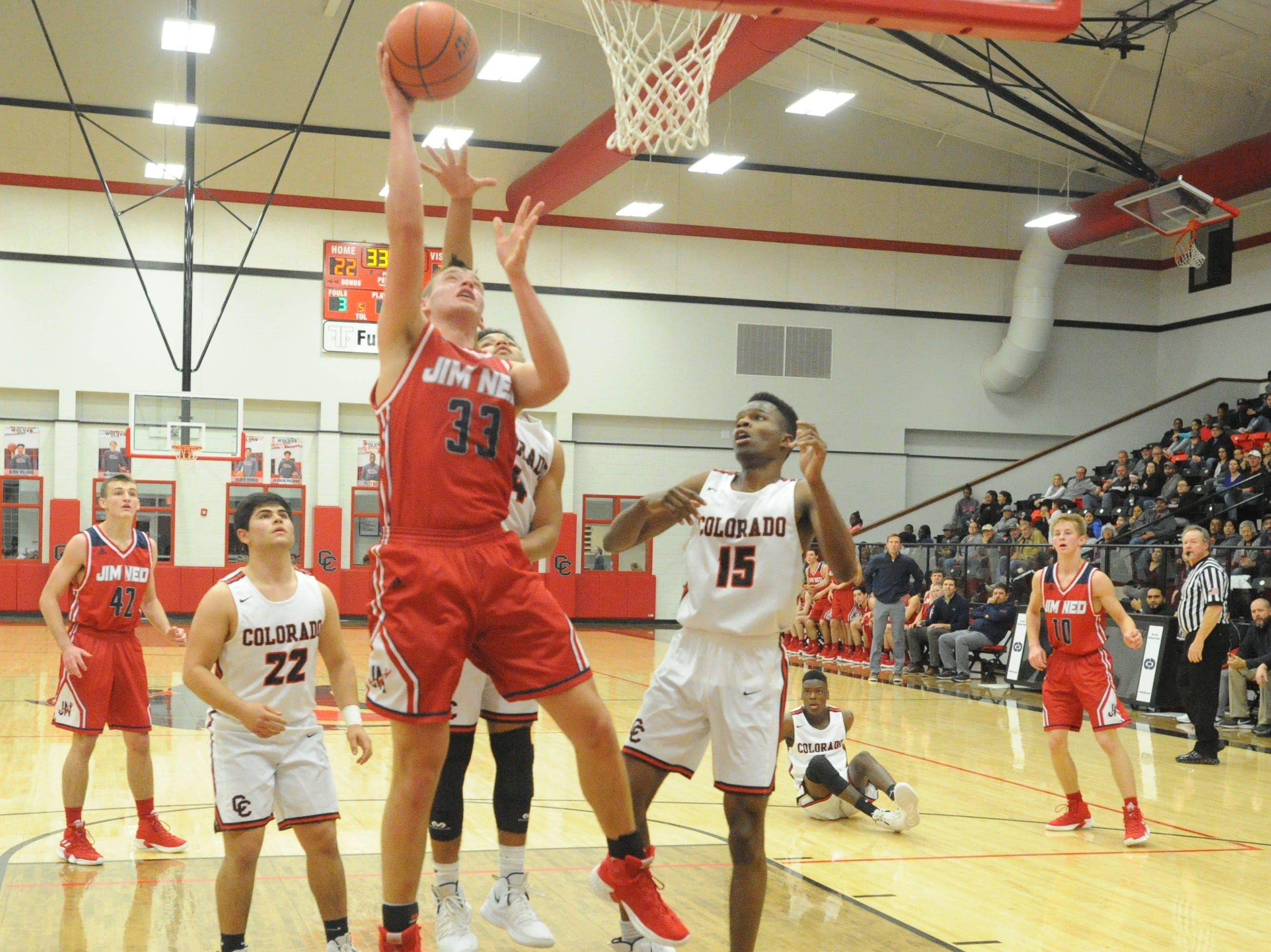 Jim Ned's Dylan Bryant scores in the paint against Colorado City. The Indians topped the Wolves 46-41 at Colorado High School on Jan. 15, 2019.