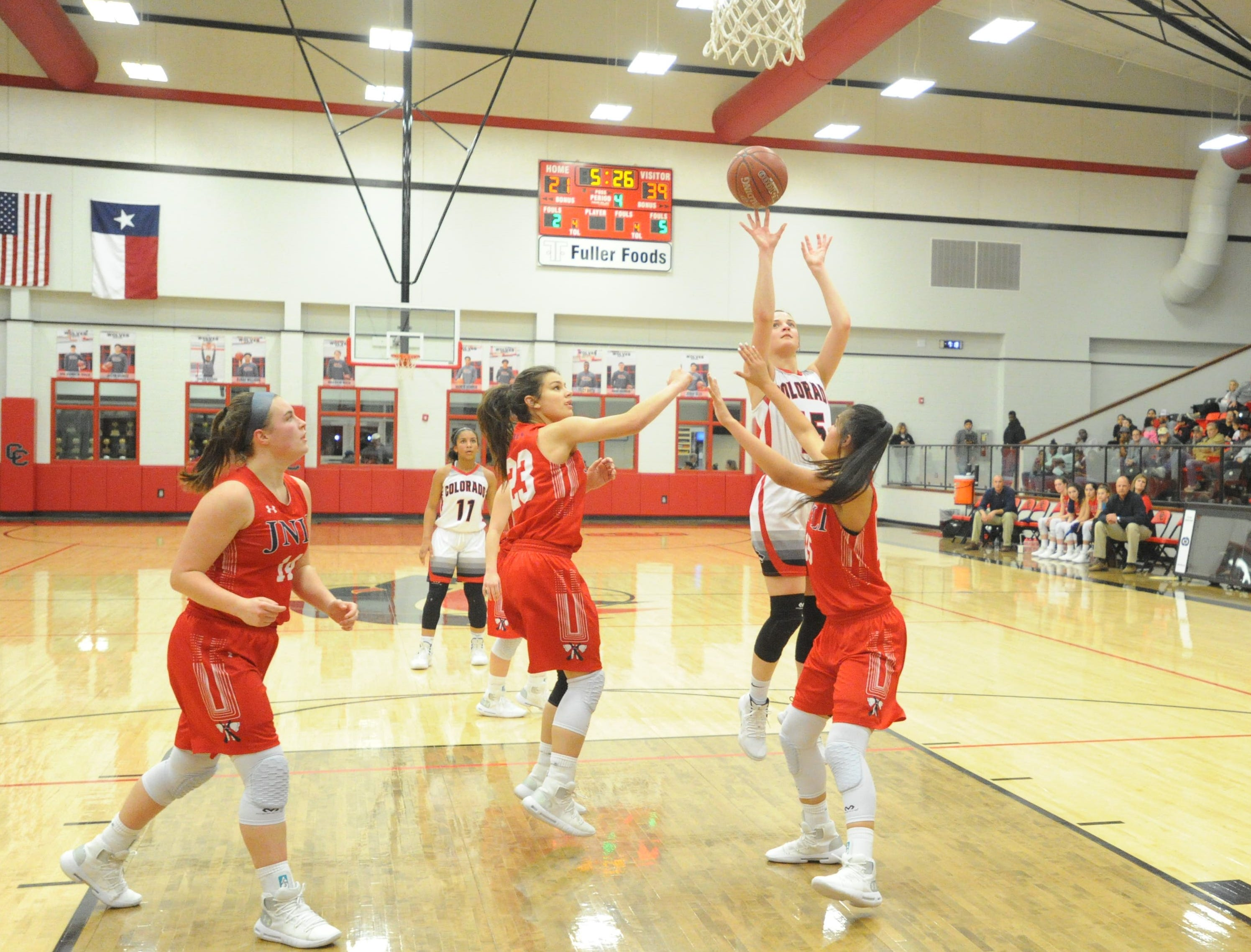 Colorado City guard Kaci Hudson takes a shot in the lane against Jim Ned. The Lady Indians topped the Lady Wolves 43-27 at Colorado High School on Jan. 15, 2019.