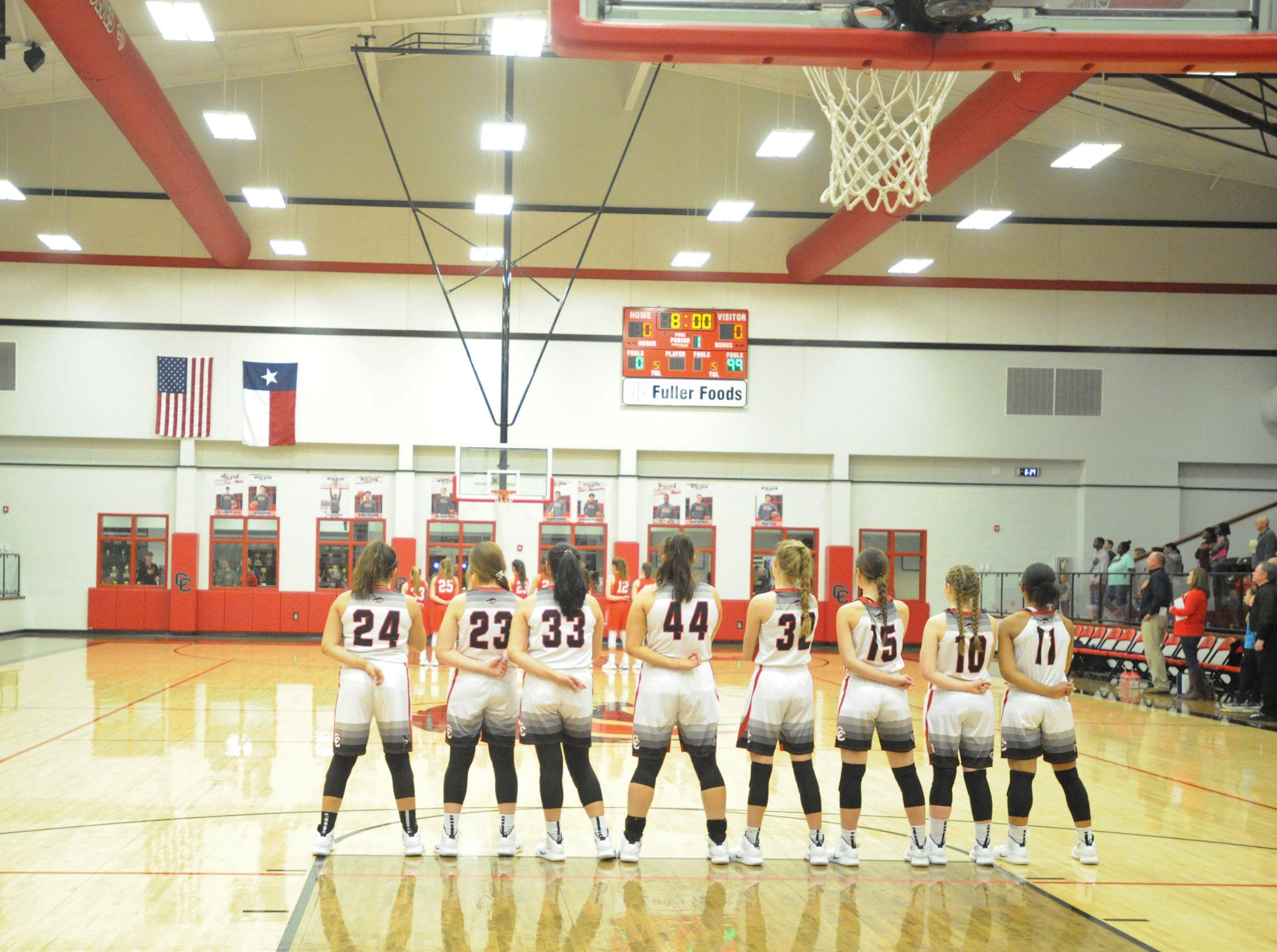 The Colorado City girls basketball team stands during the national anthem before its game against Jim Ned. The Lady Indians topped the Lady Wolves 43-27 at Colorado High School on Jan. 15, 2019.