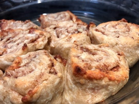 Low-carb, gluten-free cinnamon rolls just out of the oven.