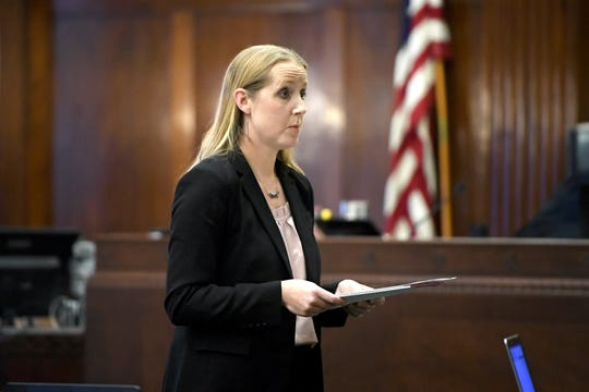 Kerry Glasoe-Grant, assistant public defender, gives opening statements in the trial of Robin Renee Richardson for the murder of Timothy Fry at the Buncombe County Courthouse on Jan. 16, 2019.