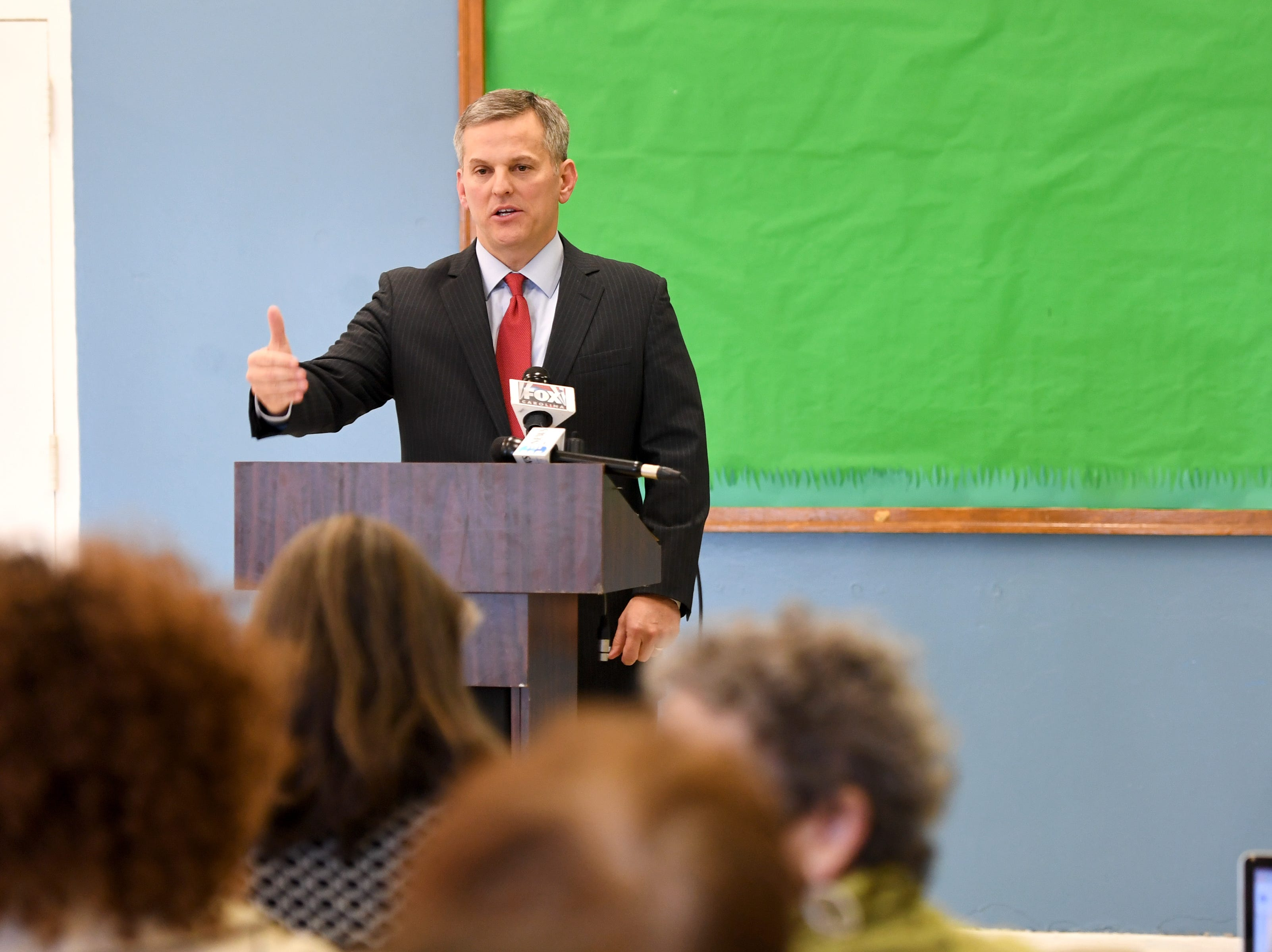 North Carolina Attorney General Josh Stein announces that he does not object to HCA's purchase of Mission Health in a press conference at the Murphy-Oakley Recreation Center on Jan. 16, 2019.