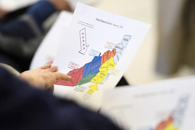 Attendees look over maps of the composition of the future Dogwood Health board during a press conference with North Carolina Attorney General Josh Stein at the Murphy-Oakley Recreation Center on Jan. 16, 2019.