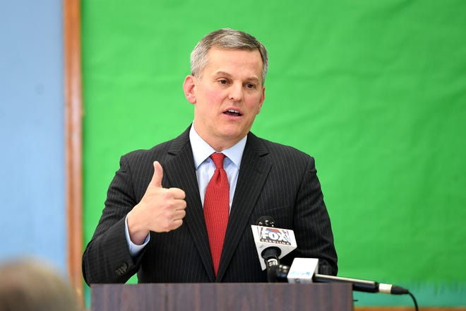 FILE - North Carolina Attorney General Josh Stein at a press conference at the Murphy-Oakley Recreation Center on Jan. 16, 2019. Stein recently presented numerous suggestions devised by a task force to improve law enforcement.