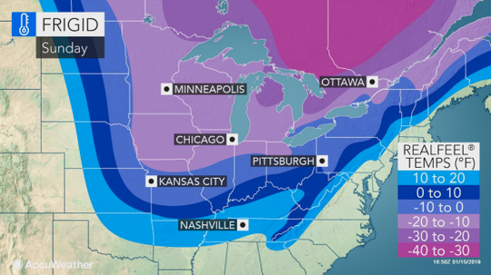 """AccuWeather calls the frigid temperatures that will be experienced by the eastern half of the nation, """"the coldest air so far this winter season."""""""