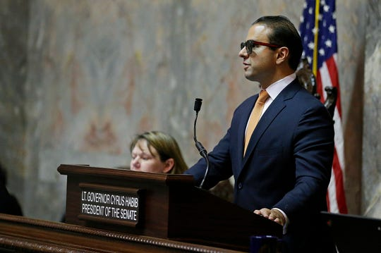 Lt. Gov. Cyrus Habib presides over a 2017 session of the state Senate in Olympia. Washington state's lieutenant governor declined to preside at Gov. Jay Inslee's State of the State speech because he was concerned people might bring concealed weapons to the joint session of the Legislature.