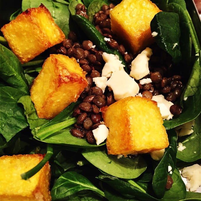 Crispy croutons are a nice gluten-free salad topper.