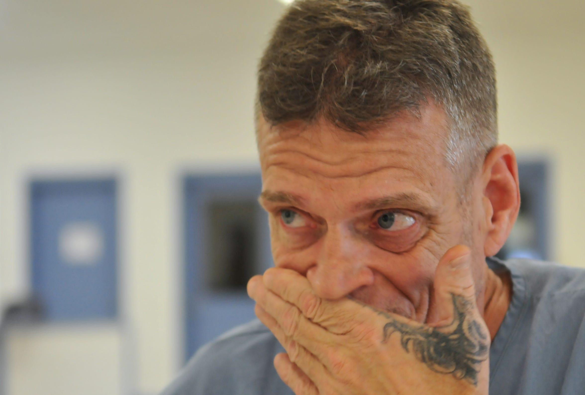 Jeffrey Abramowski during an interview with FLORIDA TODAY reporter John Tosses, at Martin County Correctional, where he is serving time for a second degree murder he insists he did not commit, and believes that he has the paper trail and other evidence to prove his innocence.