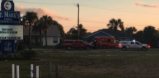 Brevard County Fire Rescue brought a three-year-old girl to a church in Indialantic to be flown to a hospital after she fell from a second-story window.