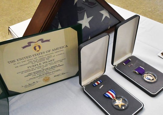 In addition to the Silver Star and Purple Heart, Jeanne Hall received her father's European-African-Middle Eastern Campaign Medal with one bronze service star, World War II Victory Medal and Presidential Unit Citation.