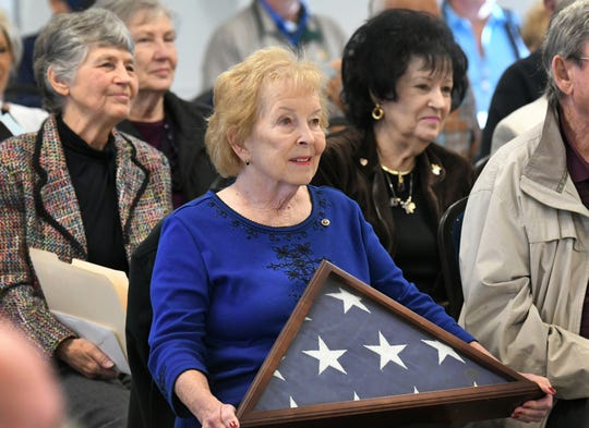 Jeanne Hall of Melbourne Beach the daughter of U.S. Army 1st Lt. William Warner, Jr., was presented his Silver Star, Purple Heart and other medals at a ceremony held Wednesday morning at the Brevard Veterans Memorial Center in Merritt Island.