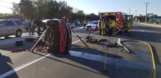 A multi-vehicle crash in Sharpes Wednesday morning left two entrapped and 10 injured.