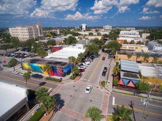 A aerial view of Historic Melbourne, which has turned itself into one of the most popular dining and social areas on the Space Coast.