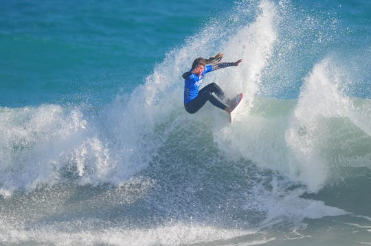 Leticia Canales Bilbao of Spain won her heat Wednesday at Sebastian Inlet in the Florida Pro.