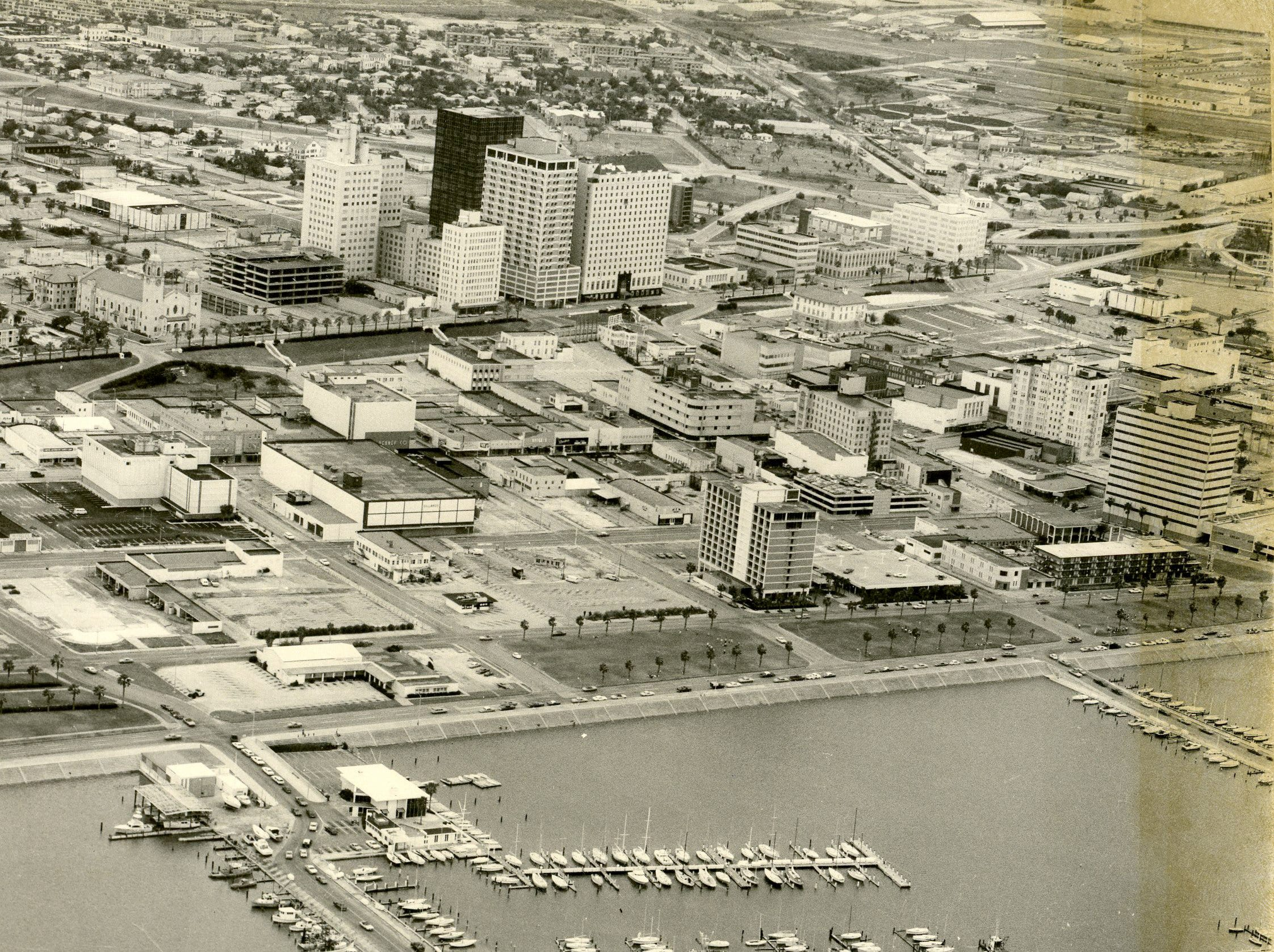 The Coopers Alley L-Head can be seen in this aerial view of downtown and uptown Corpus Christi taken in 1971.