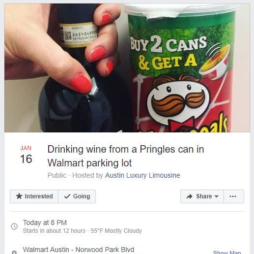 How drinking wine from a Pringles can at Walmart became a trending Facebook event in Texas