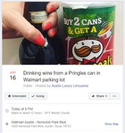 "A screenshot shows an event in Austin, Texas called ""Drinking wine from a Pringles can in Walmart parking lot."""