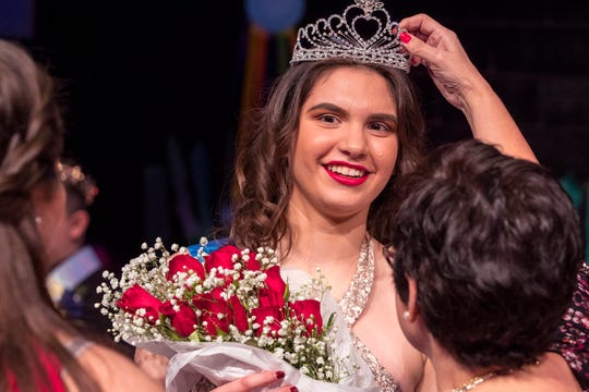 Kendra Berlanga is named Queen of the 16th annual Special Hearts Prom at Moody High School on Wednesday, January 16, 2019.