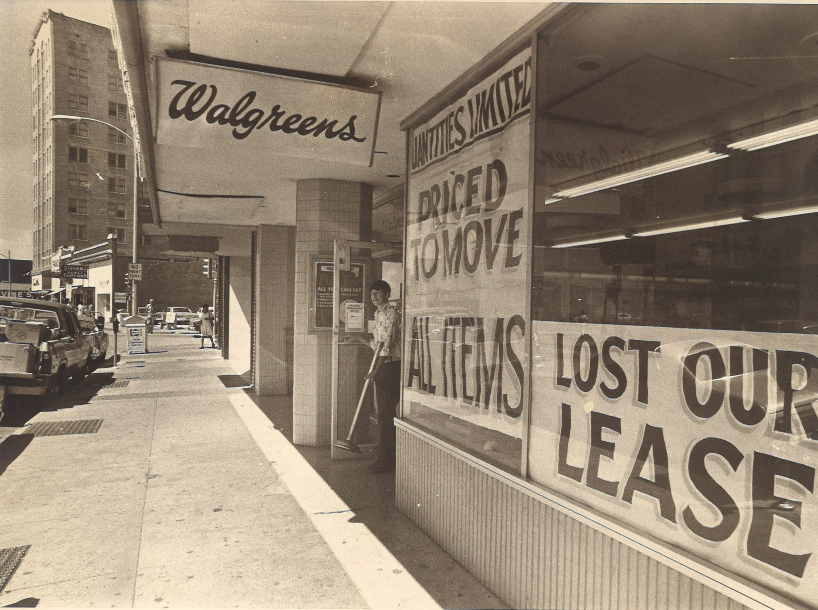 The Walgreens in the 400 block of Chaparral in downtown Corpus Christi relocated in July 1976. The drugstore had been at the location since the 1940s.